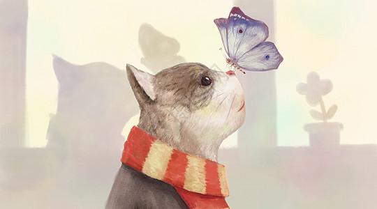 猫咪与蝴蝶图片