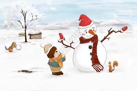 雪人和小孩图片