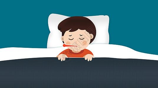 感冒生病的小孩图片