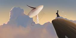 云端上的鲸鱼图片