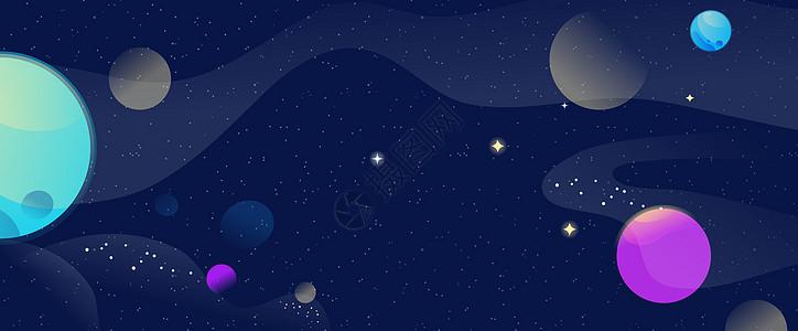 星空星球矢量背景图片