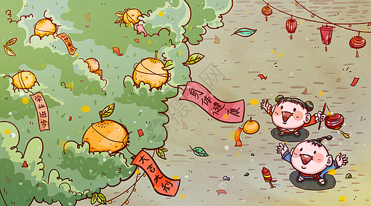 2018年春节喜庆许愿树人物插画图片
