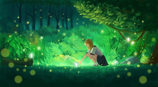 树林的少女图片