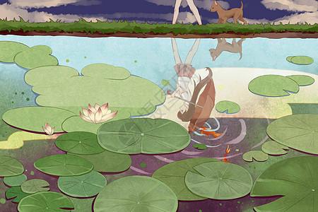 池塘漫步的小女孩图片