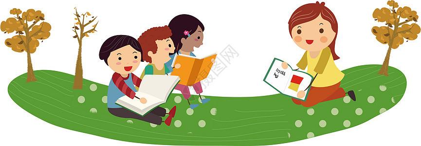 读书儿童插画图片
