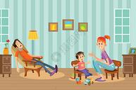 家庭生活矢量插画图片