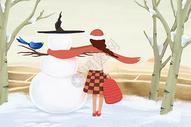 雪人和女孩图片