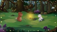 森林里的小熊和小白兔图片