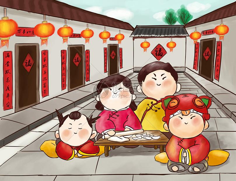 包饺子的一家人图片