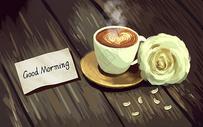 早安咖啡玫瑰图片