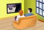 在家看电视的人图片