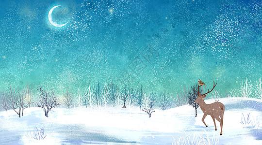 雪森林麋鹿插画图片