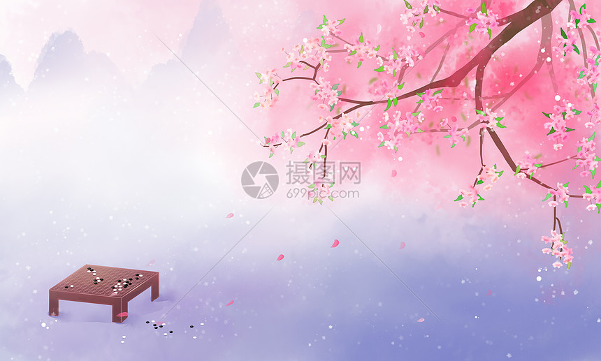 春天古风唯美桃花背景图图片