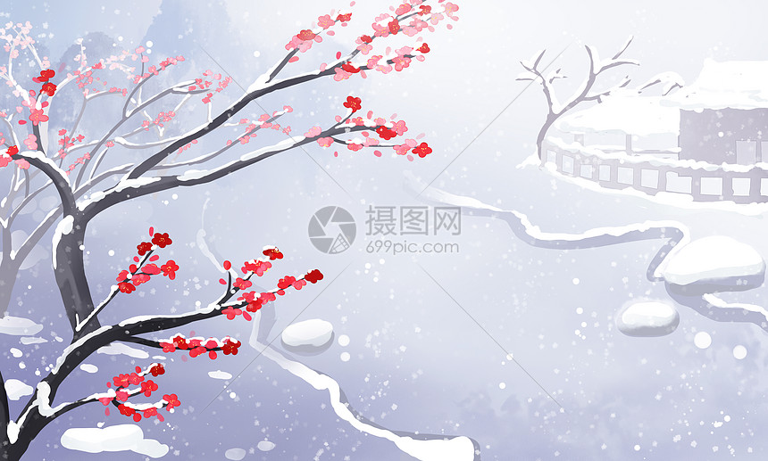 古风唯美梅花林雪景插画图片
