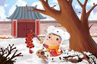 新年儿童插画图片