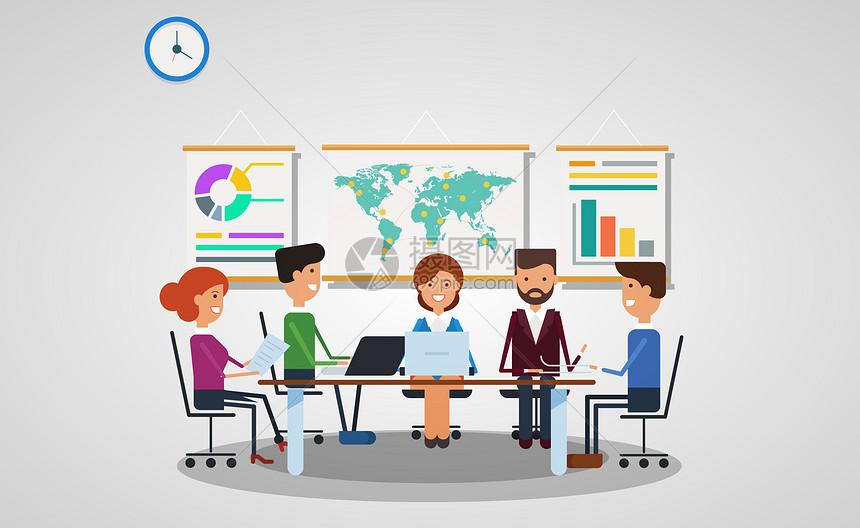 商务会议矢量插画图片