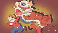 春节舞狮图片