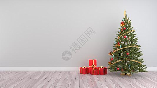 圣诞树节日室内背景图片