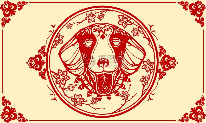 春节狗狗头像剪纸图片