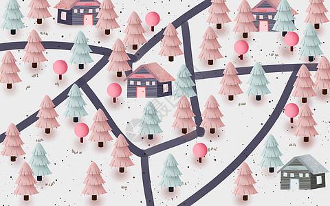 冬季雪景户外插画图片