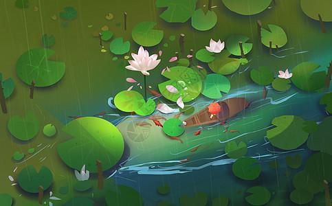 雨季荷塘插画图片