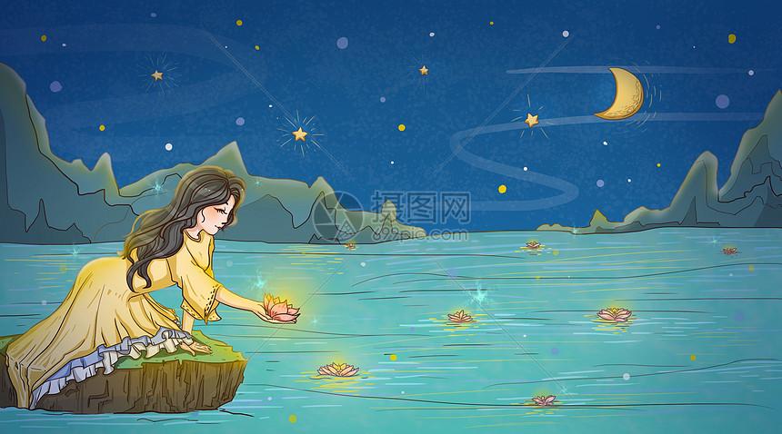 海边许愿女孩人物治愈唯美插画图片