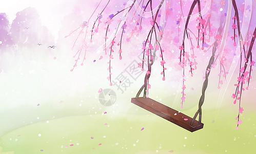 古风桃花林背景插画高清图片
