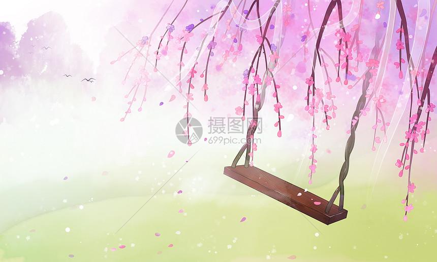 古风桃花林背景插画图片