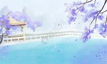 中国风小湖亭子插画图片