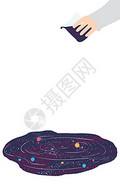 太空手绘插画背景图片