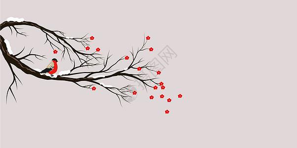 雪与鸟唯美插画图片