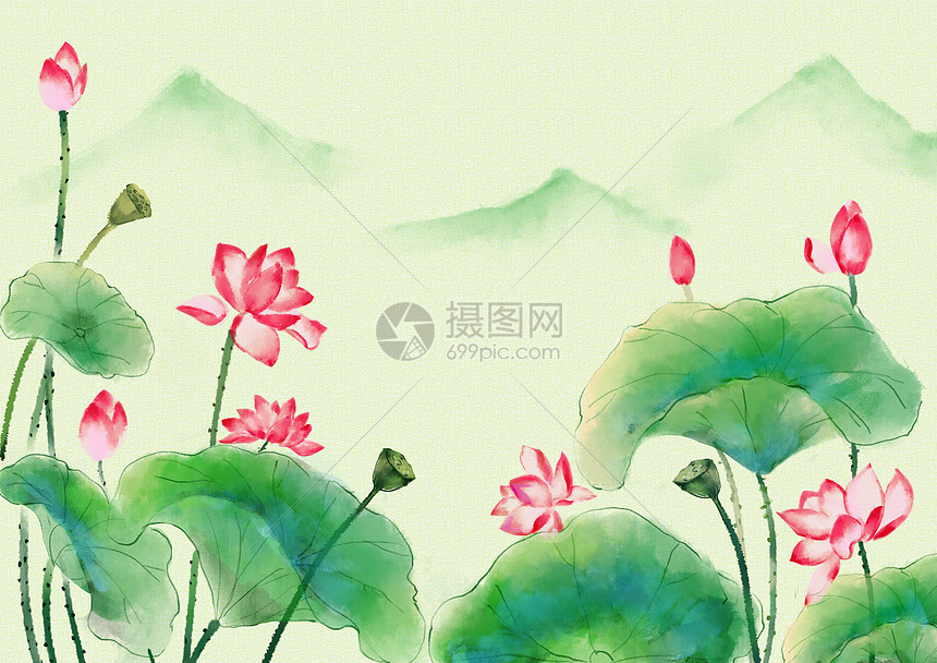 中国风荷风满塘图片