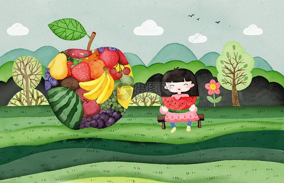 吃西瓜的女孩手绘插画图片