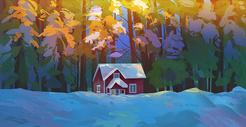 冬日雪景唯美插画图片