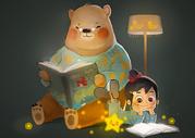 熊爸爸和小女孩在看书图片