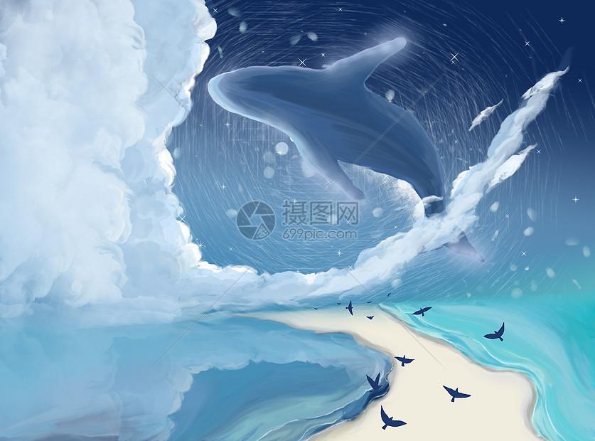 天空中的鲸鱼插画图片