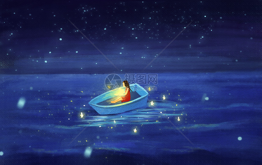 梦幻海洋中的小女孩图片