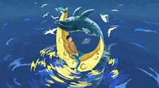 男孩鲸鱼月亮海面插画图片