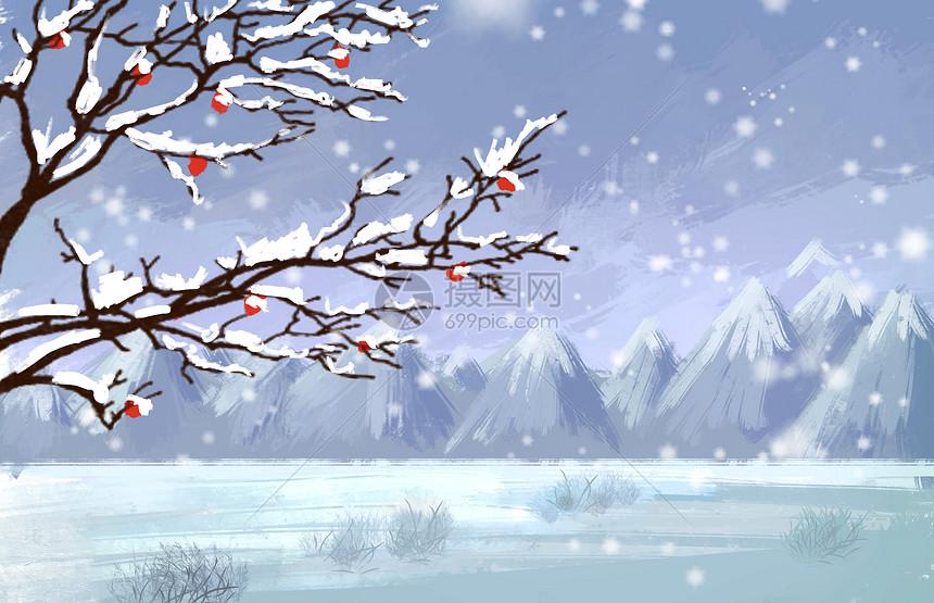 冬季飘雪图片