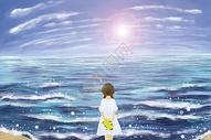 浪漫海边女孩的背影图片