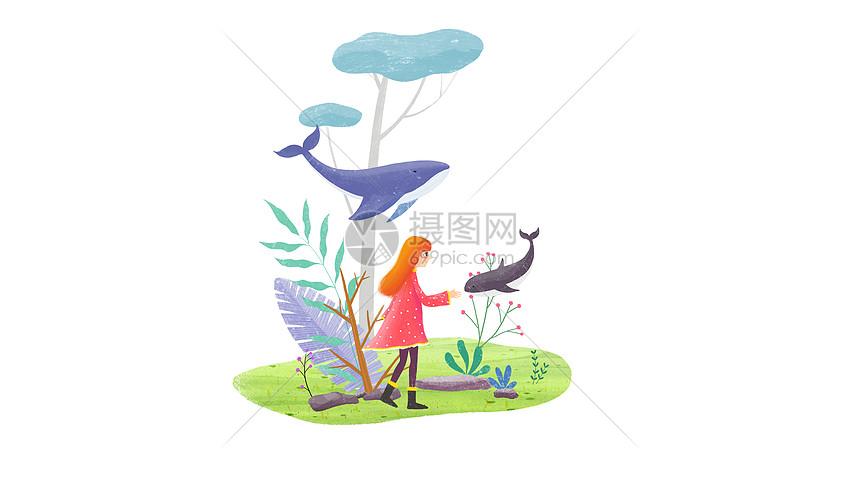 小女孩和鱼图片