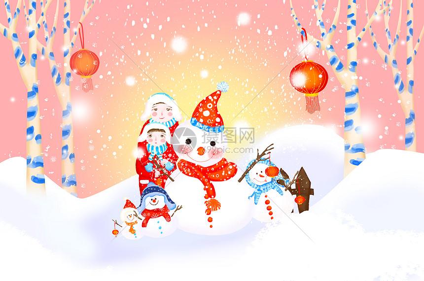 堆雪人游玩图片