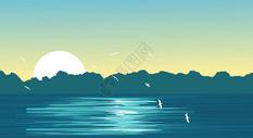 美景湖边黄昏图片