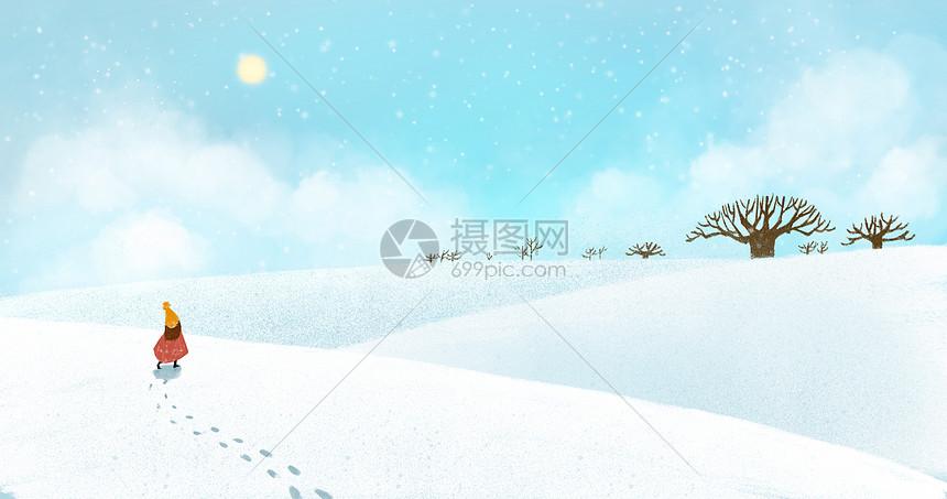冬日雪景意境插画图片