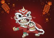 舞狮插画图片