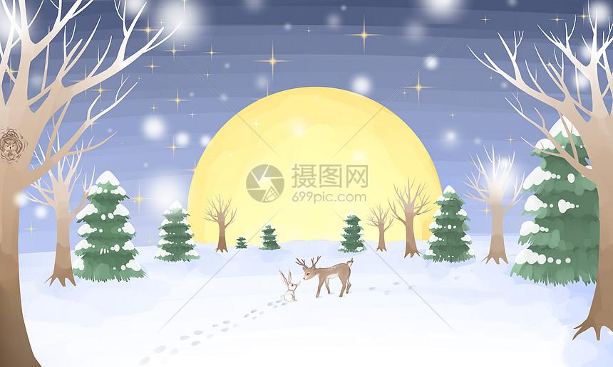 小鹿与兔子雪景图片