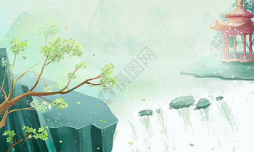 古风唯美山水风景插画图片