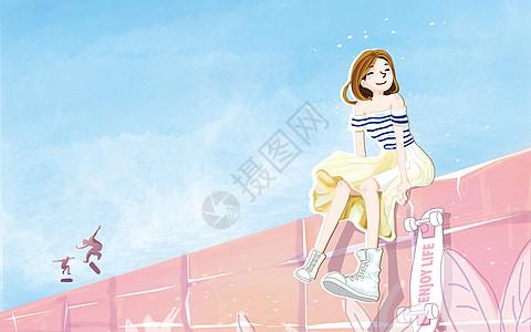 滑板少女高清图片