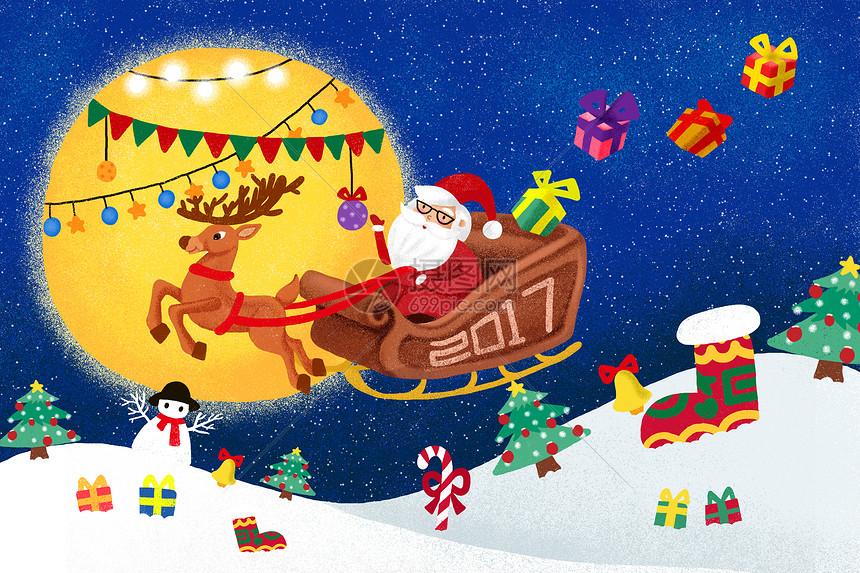 圣诞节手绘插画图片