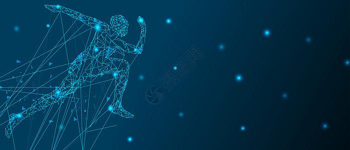 抽象奔跑的人线条科技背景图片